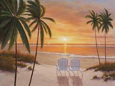 Feeling-at-home-Kunstdruck-Tropical-Sun-Uhr-cm92x122-Poster-fuer-Rahmen