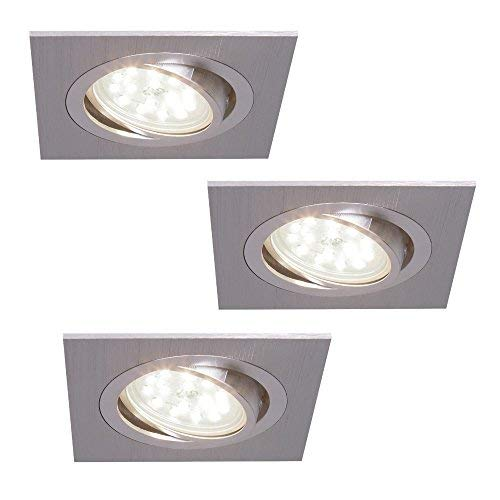 Decken-Einbaustrahler 3er Set | Einbauleuchten LED 5W neutralweiß | Deckenstrahler alufarben eckig | Einbauspot flach | Einbaulampen schwenkbar | Deckenspot modern | Spots + LED-Leuchtmittel