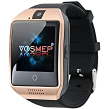 VOSMEP Smart Watch Apro Watch Phone Orologio Cellulare Telefonico supporto Facebook Whatsapp con Bluetooth 3.0 con Built-in 8G di Memoria Bracciale Intelligente Sport Bracelet con Camera Touch Screen per Android Samsung HTC Xiaomi LG Huawei SIM Smartphones (Champagne) SM6