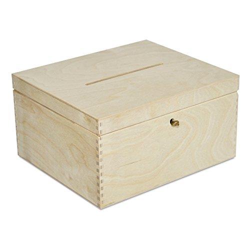 Holzkiste mit Deckel Geldgeschenke Hochzeit Holzbox | 29 x 25 x 15 cm | mit Schloss und Schlüssel Geschenkkarten Box Geldbox Briefbox | Unlackiert Kasten | Ideal für Decoupage, Dekorieren und Lagerung