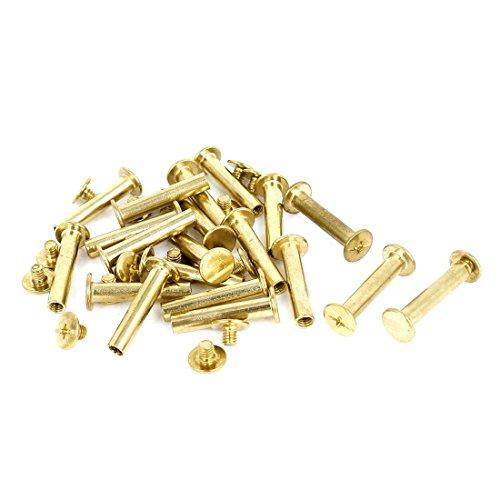 5 mmx25 mm Leder Geldbörse Messing vergoldet Bindung Chicago Schraube Post 20 Stück