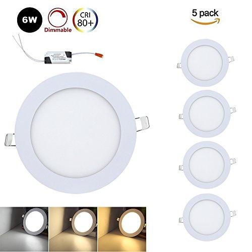 VINGO 5x6W Rund LED Panel LED Lichtfarbe 3000-6500K Einaustrahler Deckenstrahler Panellampe Beleuchtung Ultraslim Farbwechsel 3 in 1 Dimmbar Zwei-Jahre-Garantie Led-video-panel