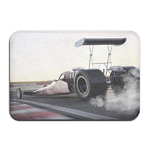 Memory Foam Bath Mat Non Slip Absorbent Super Cozy Plush Bathroom Rug Carpet,Dragster Racing Down The Track with Burnout Competition Speed Sports Technology,Decor Door Mat 23.6 X 15.7 Inches -
