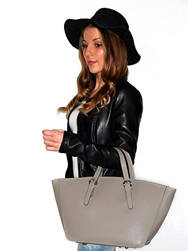 DesiDo® Italienische Tasche Designertasche XXL Shopper Bag Damen Leder Echtleder Flechtmuster große Handtasche Tasche Henkeltasche mit Innentasche Reißverschluss 42cm x 25cm x 14cm Taupe