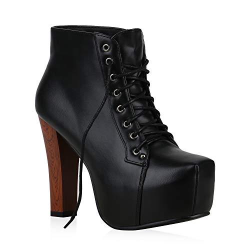Damen Stiefeletten Plateau Boots Spitze Blockabsatz 70s Look High Heels Plateau Schuhe 55584 Schwarz Brito 39 Flandell (Kostüme Combat-boots Mit)