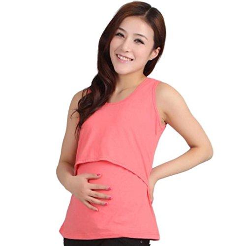 Maglietta per l'allattamento elegante feixiang® camicie e casacche da premaman senza maniche camicia da donna per maternità camicia a doppio con maniche avvolgibili (rosa, taglia unica)