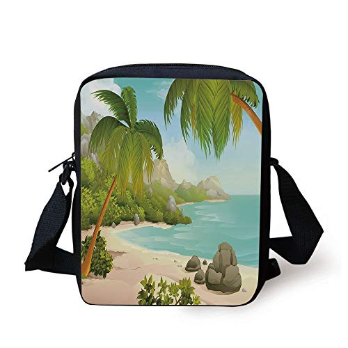 Tropical Decor,Exotic Beach with Coconut Palm Trees and Rocks Journey Ocean Coastal Design,Aqua Green Print Kids Crossbody Messenger Bag Purse -