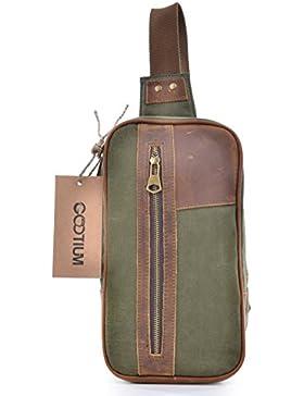 Gootium 50305 High Density Canvas Genuine Leather Cross Body Pack