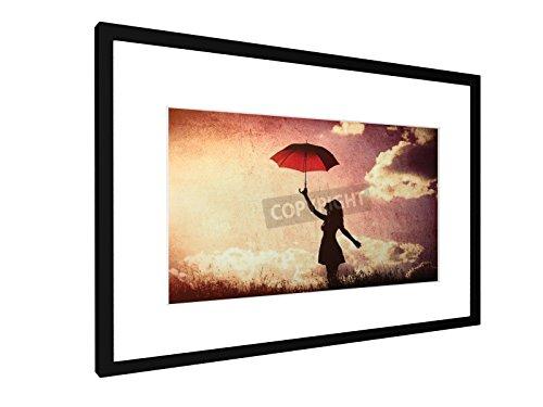 Frauen mit Regenschirm - 60x40 cm - Bild mit Rahmen / Gerahmtes Poster - Kunstdruck - Wandbild - Kunst, Gemälde, Foto, Bild - Menschen (Landwirtschaft Gerahmte Kunst)
