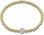 Amberta 925 Sterling Silver - 4 mm Beaded Stretch Bracelet with Zirconia 8 mm Ball CZ Crystal Charm - Elastic