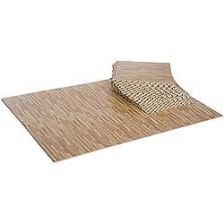 Homcom Tapis en Mousse de Protection Sol Tapis de Fitness 62 x 62 x 1 cm avec Bordures Tapis Puzzle 25 pièces 9,3 m² de Surface Imitation parquet en Bois