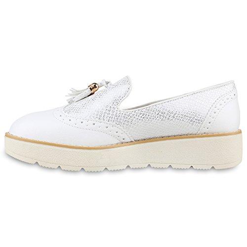 Damen Slipper Lack | Plateau Loafers | Metallic Schuhe Profilsohle | Loafer Flats Glitzer | Slippers Quasten Lochung Weiss Quasten