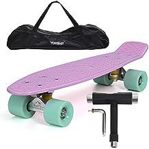 "Yorbay 22"" skateboard monopatín retro con la bolsa y T-herramientas (tabla rosa/ruedas verde)"