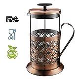 Coffee Press, Rackaphile Caffettiera Pressofiltro, Caffeteria a Pistone, French Press per Caffè/Tè, Max. 1000 ml (8 tazze), in Acciaio Inox. e Pyrex (Vetro Borosilicato Resistente al Calore)