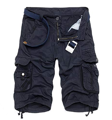 CuteRose Men Camo Baggy Half Pant Plus Size Multi Pocket Workwear Ranger Pant Dark Blue 35 -