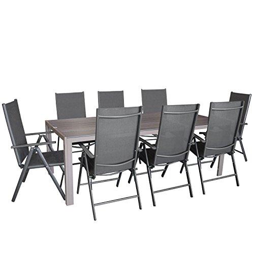 Multistore 2002 9tlg. Gartengarnitur, Aluminium Gartentisch, Polywood-Tischplatte Mokka 205x90cm + 8X Aluminium-Hochlehner mit 2x2 Textilenbespannung, 7-Fach Verstellbar, klappbar, Anthrazit