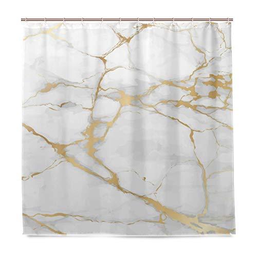 Wamika Luxus Marmor Stone Gold Weiß Badezimmer Duschvorhang Liner Home Decor Durable Fabric Schimmelresistent Wasserdicht Bad Badewanne Vorhang Tuch mit 12 Haken 183,0 cm x 183,0 cm