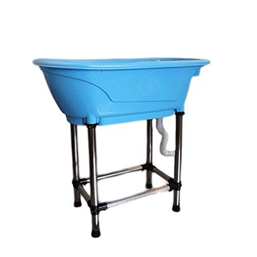 YC electronics Tina del Baño de la Tina, del Gato y del Perro del plástico, Bañera de la Piscina, 95.5 * 45.5 * 91cm (Color : Blue)