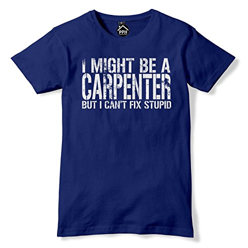 Ich bin vielleicht Carpenter aber nicht Fix Stupid Karpfen T Shirt Blau - Navy