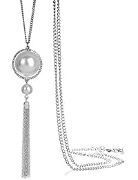 f2c2f5d5955d ONNEA Collares Plata Largos con Colgante Perlas Borla para Mujer
