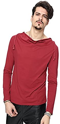 Whatlees Men slim fit slightly long SLEEVE hoodie soft sweat
