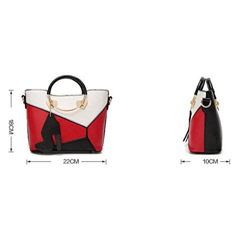 Handtaschen-Leder-Shell-Beutel-europäischer Und Amerikanischer Art- Und Weisewilder Schulter-Beutel-Diagonalpaket-weiblicher Beutel Red