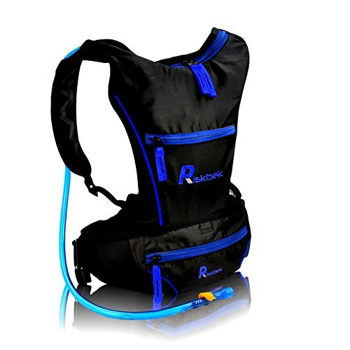 Top Rated sistema de hidratación con libre Cintura Pack & 2litros hidratación vejiga por riskbektm. Mejor para mochila de hidratación para senderismo, running, ciclismo–se adapta a hombres, mujeres y niños perfectamente., color azul, tamaño talla única