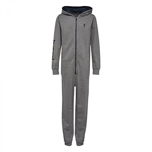 Hummel Anzug (Hummel Onesie Jungen - JUNIOR V ASPEN JUMPSUIT - Einteiler in Grau o. Blau - Overall mit Reißverschluss & Taschen - Jogger Anzug mit Kapuze - Trainingsanzug, Medium Melange,)