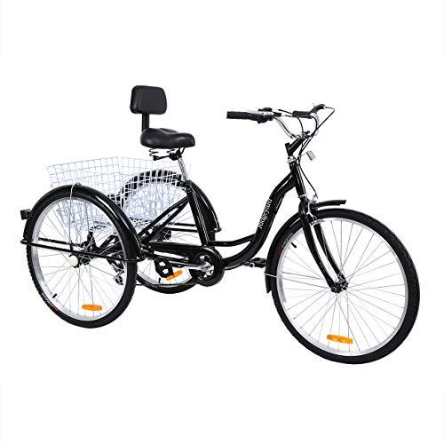 Muguang Dreirad Tricycle Für Erwachsene 26 Zoll 7 Geschwindigkeit 3 Rad Fahrrad Dreirad mit Korb(schwarz)