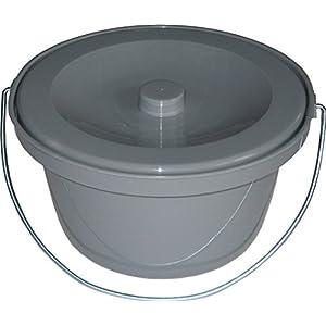 Pflegehome24® Toilettenstuhleimer universal, Grau, Geruchsverschluß – Toiletteneimer