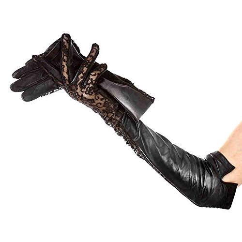 Agelec Dünne Lederhandschuhe Lokomotive Herbstfrauen Lange Lederhandschuhe reparieren koreanische Spitze Schaffell Handschuh (Größe : M)
