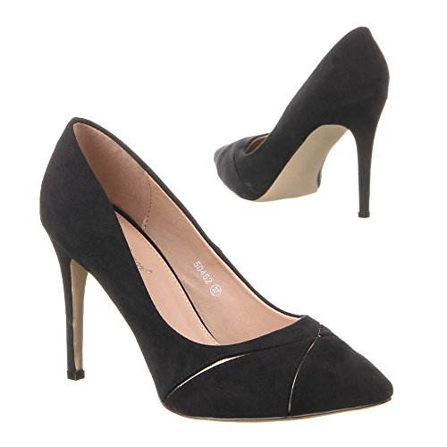 Damen Schuhe, 50462, PUMPS Schwarz
