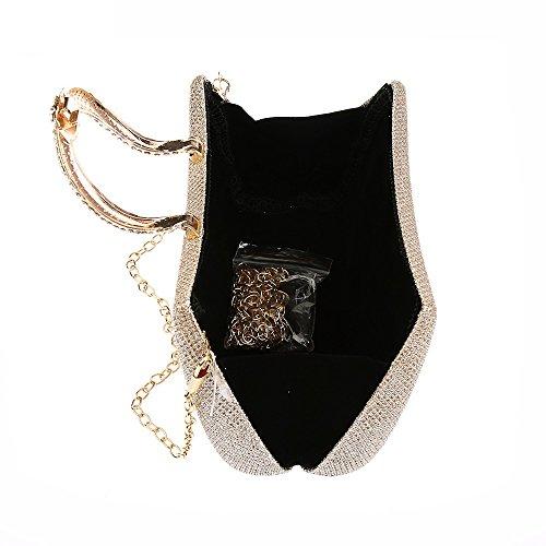 d2282f80034df ... Lantra Besa Damen Strass Tasche Abendtasche Clutch Umhängetasche  Schultertasche mit 2 Ketten für Hochzeit und Party