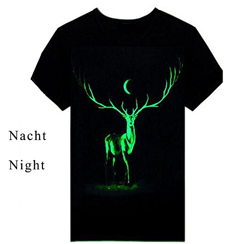 ETASSO Herren Kurzarm T-Shirt 3d Aufdruck Tier Shirt Luminous Tops Hirsch