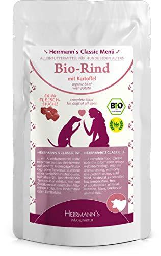 Herrmanns Rind Menu 1 mit Kartoffel, Apfel, Birne, Sellerie, Kokosflocken 130g Bio Hundefutter, 12er Pack (12 x 130 g)