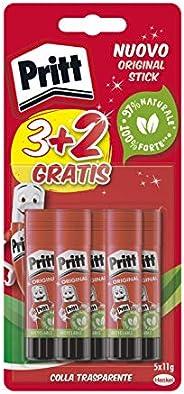 Pritt Colla Stick 5 X 11 gr, Colla per Bambini Sicura e Affidabile, Colla Pritt per Lavoretti e Fai da te, con