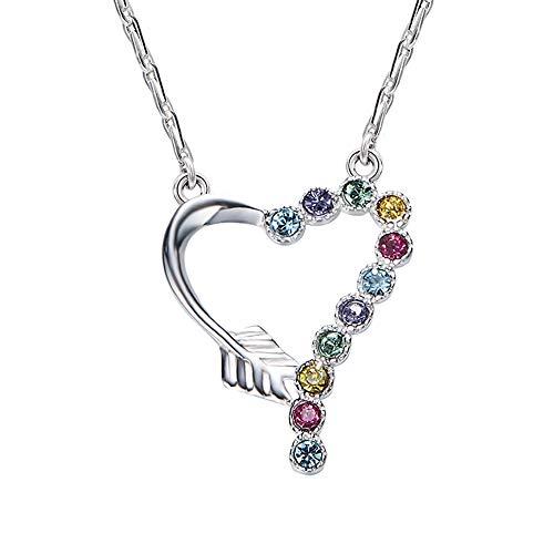 Gioielli donna perline di cristallo colorate cuore collana ciondolo, 925 sterling catena argento collane per donne