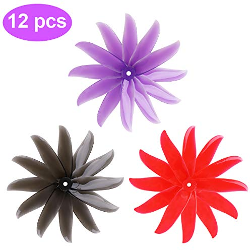 Crazepony-UK 12pcs DALPROP T5050C 5050 5 Inch 3-Blades CW CCW Tri-Blade Propeller, Best Match for 200 210 230 250 FPV Racing Drone Quadcopter Frame Kit (Black Red Purple)