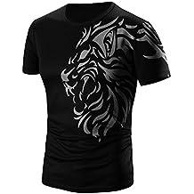 Camisas Hombre Camisas de impresión de moda de verano para hombres Camiseta de manga corta deportivas casual Tops blusa Pollover Amlaiworld (Negro, XL)