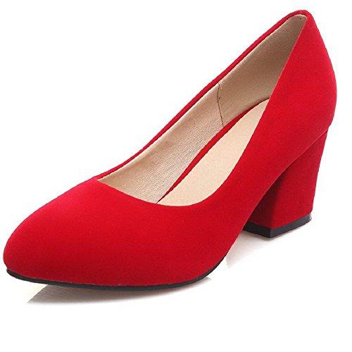 AllhqFashion Damen Spitz Zehe Mittler Absatz Rein Ziehen Auf Pumps Schuhe Rot