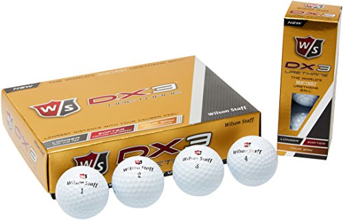 Wilson Staff, Homme Balle de Golf Souple en 3 Pièces pour Longues Distances, Boîte de 12, Niveau Avancé, Compression 55, Uréthane, Tour Spin, DX3, Blanc, WGWP39200