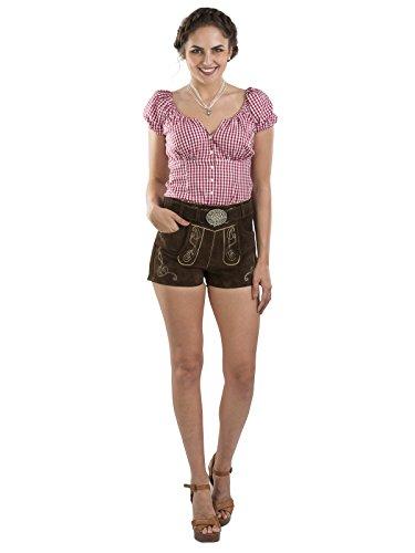 Damen Jugendstil Lederhose mit Trachtengürtel - Schöneberger Trachtenhose Hotpants mit Gürtel...