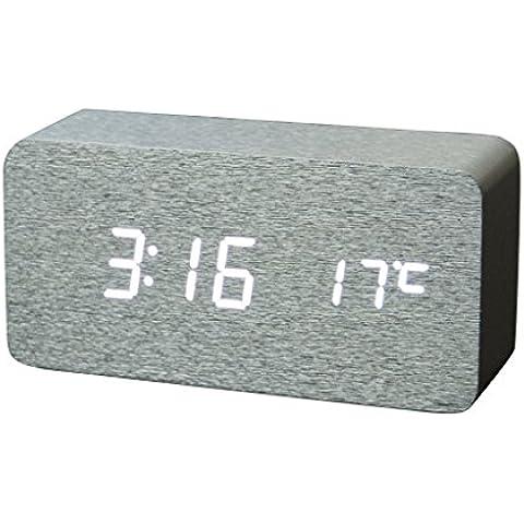 Despertador Control de Sonido Indicador de Temperatura Digital Madera Llevó LED Color Plata - Blanco