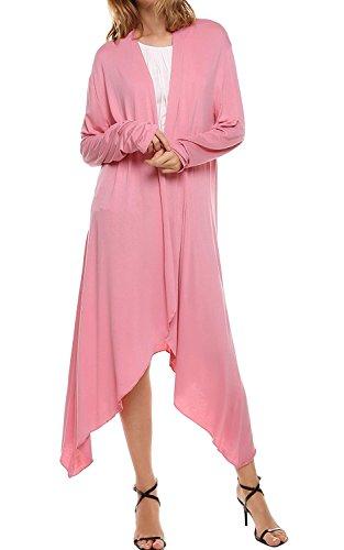 Cardigan Donna Lungo Elegante Cappotto di Autunno Primavera Asimmetrico Maglietta Maniche Lunghe Camicia Bluse Maglie Tops Casual – Landove Rosa
