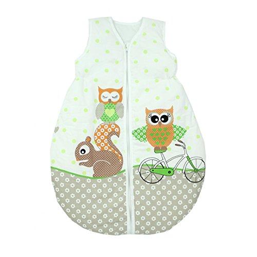 TupTam Unisex Baby Schlafsack ohne Ärmel Wattiert, Farbe: Eulen 2 Grün, Größe: 80-86 (83 Grün)