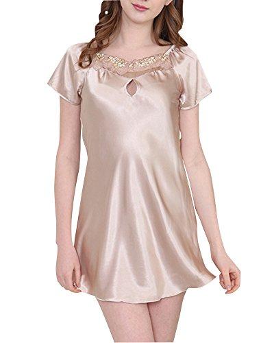 Donna Pigiama Classica Semplice Camicia da Notte Raso Pigiameria Delle Cammello