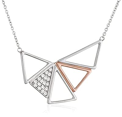 Fiorelli Silver Pave and Rose Gold Triangle Pave Necklace of Length 46cm