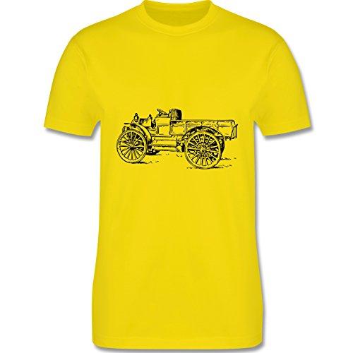 Landwirt - Traktor alt Planwagen - Herren Premium T-Shirt Lemon Gelb