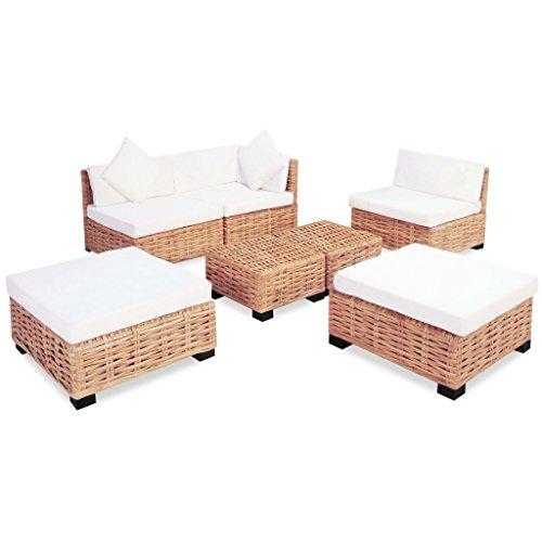 tidyard Ensemble de Canapés en Rotin Naturel 18 pcs avec Table Basse pour Salon ou Jardin