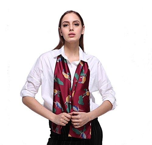 Damen Stilvoll Vogel Schals Halstücher Kopftücher Skinny Scarf Handgelenk Band Choker Krawatten Twilly(Mehrfarbig) (Silk Schal Skinny)